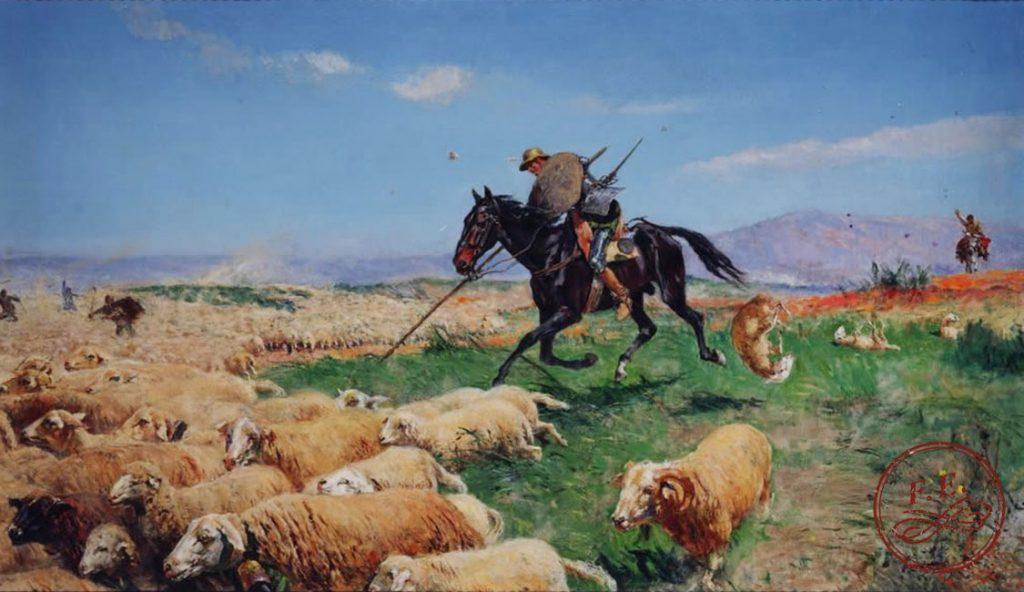 Don Quijote de la Mancha enfrentándose al rebaño |  1930