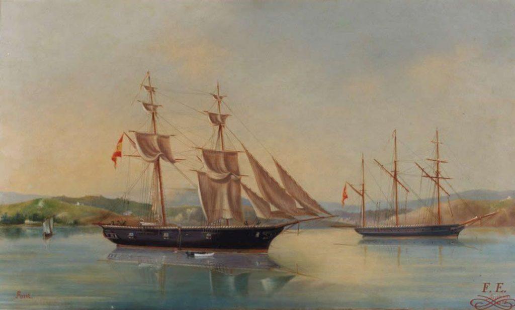 Pareja de Marinas: La Armada Española anclada en aguas de Mahón con motivo de la visita de Isabel II a la isla de Menorca