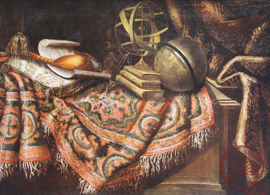 Naturaleza muerta con alfombra, esfera armilar, globo e instrumentos musicales